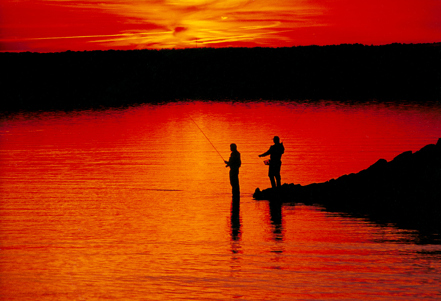 Sengekontacket Pond, Fishing, Sunset